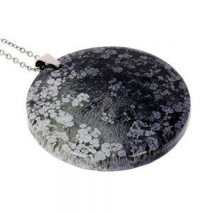 Colier cu pandantiv rotund din rasina epoxidica transparenta cu pigment negru cenușiu, bijuterie unicat