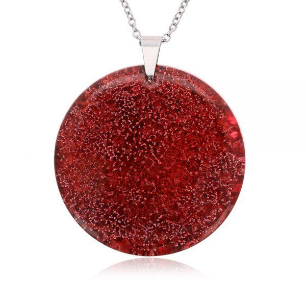 Colier cu medalion roșu din rășină epoxidică transparentă, bijuterii handmade unicat