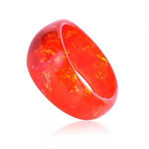 brățară bangle asimetrică din rășină epoxidică, cu nuanțe de ardei roșu chili și galben portocaliu