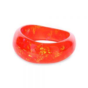 Brățară bangle din rășină epoxidică, roșu chili pepper, roșu portocaliu, bijuterie handmade