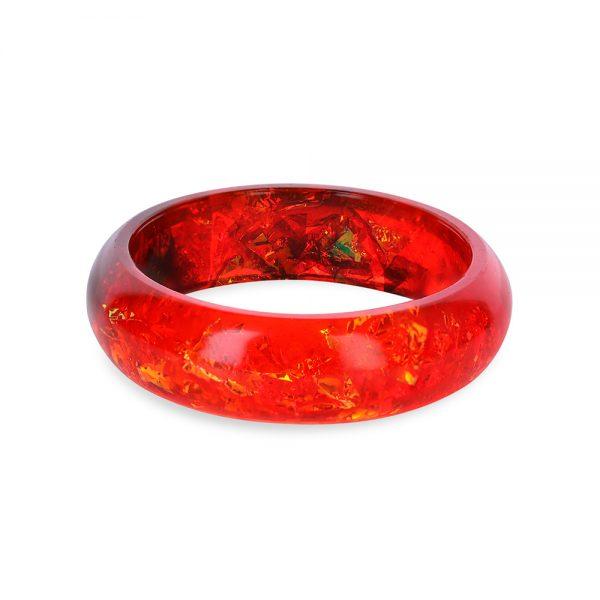 brățară bangle din rășină roșie, bijuterie handmade unicat