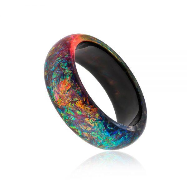 bratara bangle din rasina epoxidica, bijuterie multicoloră handmade unicat