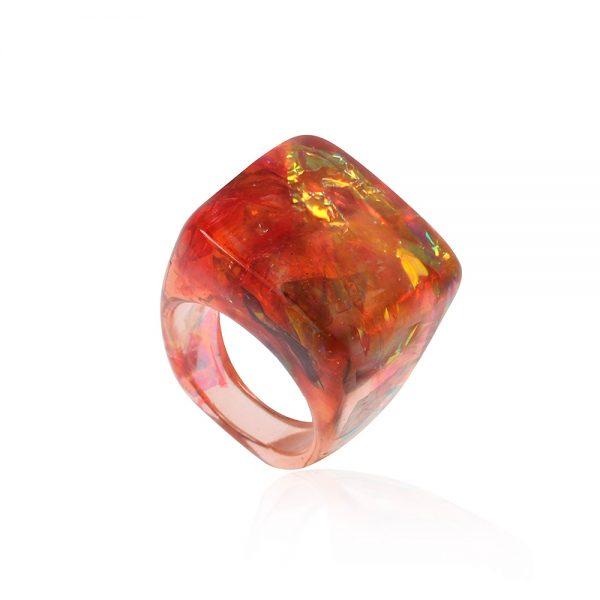 inel chihlimbar fabricat manual din rășină epoxidică cu nuanțe de arămiu auriu și arămiu bronz