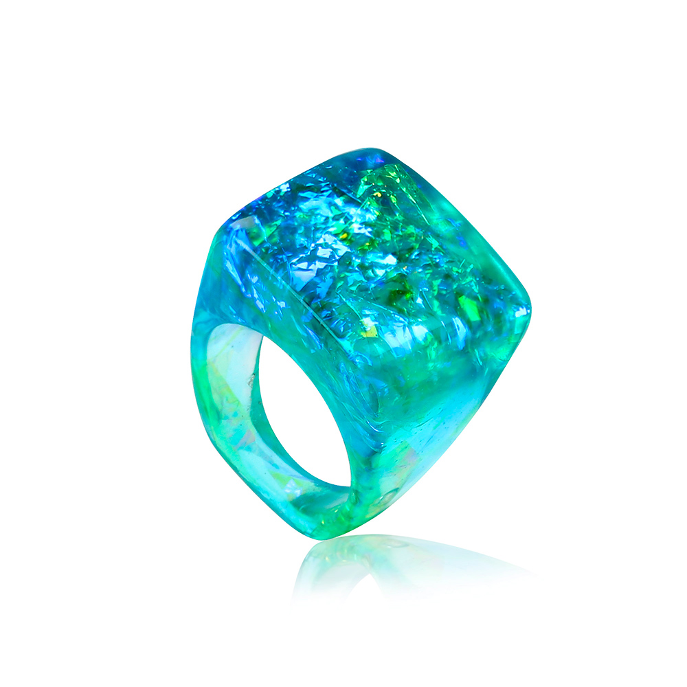 inel turcoaz verde albastru cu reflexii aurii, bijuterie din rășină handmade unicat