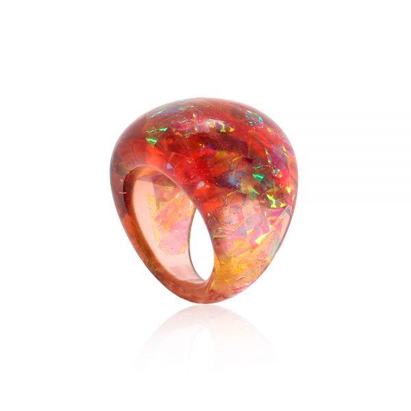 inel din rășină, bijuterie culoare chihlimbar, maro cu reflexii aurii