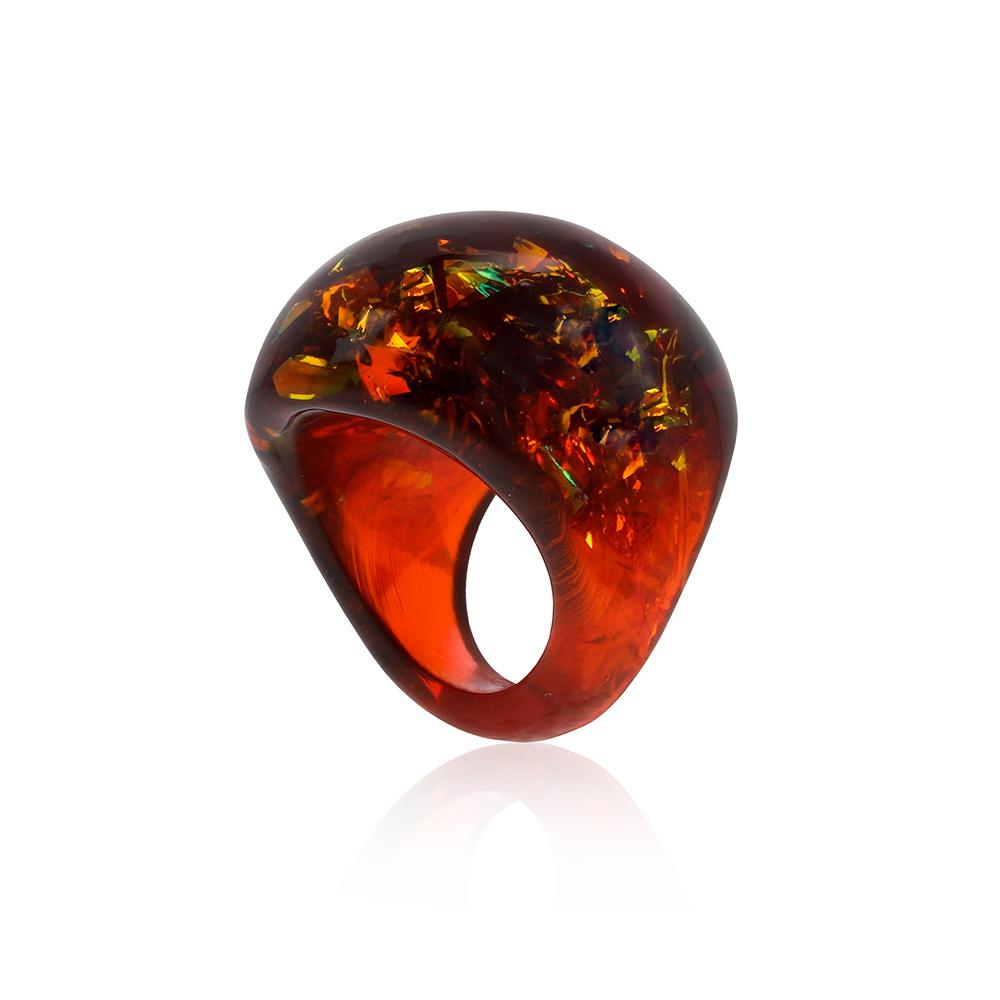 inel din rășină epoxidica transparentă cu pigment maron, bijuterie din rășină handmade unicat