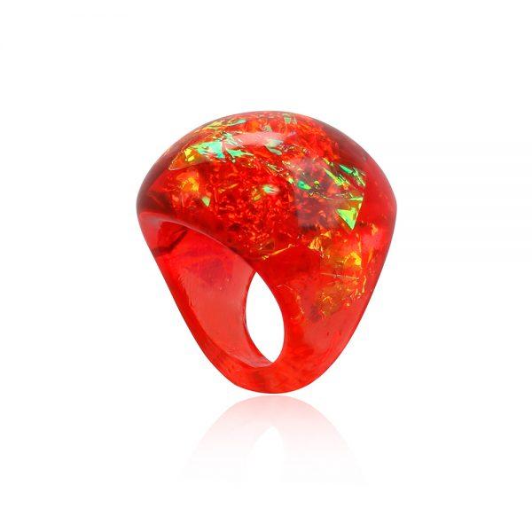 inel din rășină roșu chili, roșu granar, reflexii arămii aurii, bijuterie handmade unicat