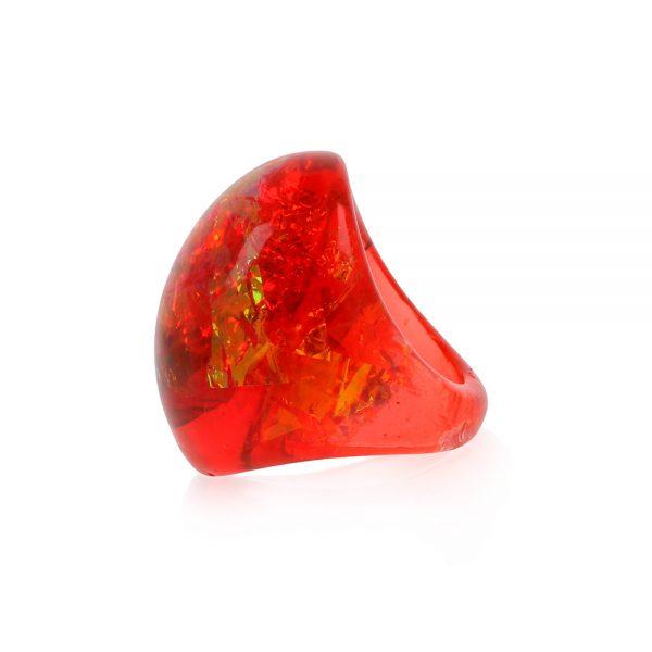 Inel din rășină epoxidică transparentă cu pigment roșu chili, nuanță roșu rubin, buijuterie handmade unicar