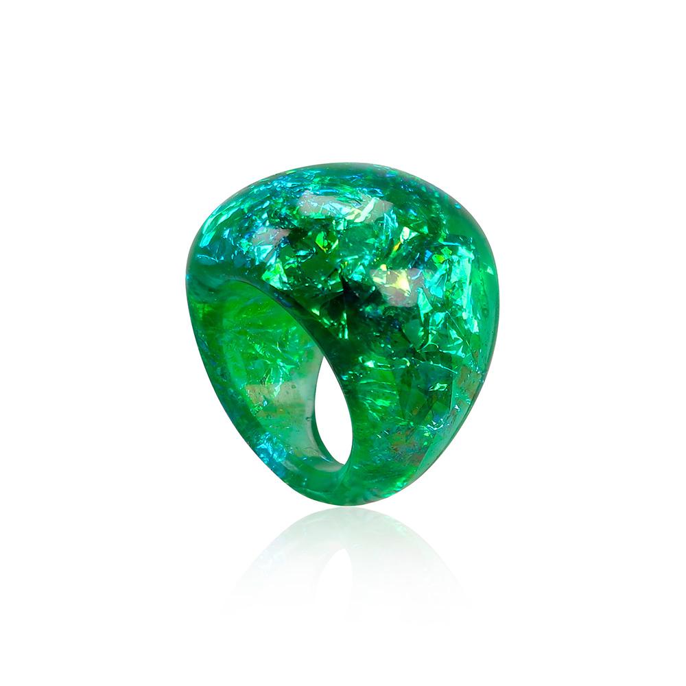 inel verde turcoaz din rășină, bijuterie handmade unicat