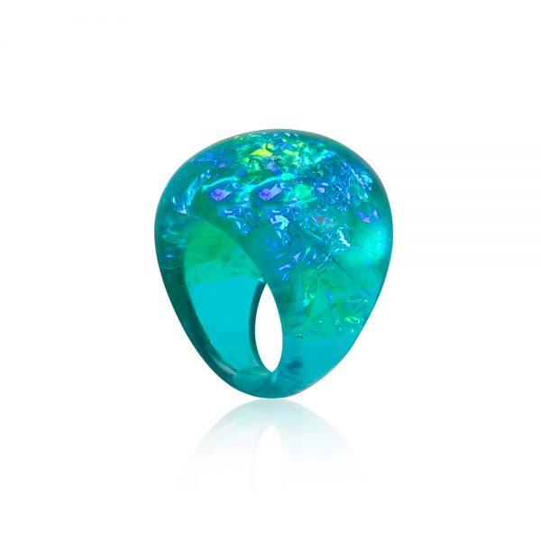 inel verde turcoaz și albastru din rășină handmade unicat