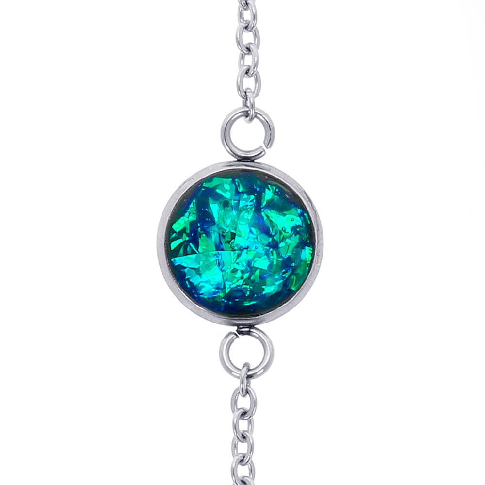 brățară metalică inox oțel chirurgical rotundă din rășină epoxidică verde smarald verde jad turcoaz natural piatră cristale, bijuterii handmade unicat