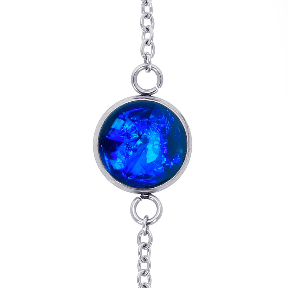 brățară metalică inox oțel chirurgical din rășină epoxidică transparentă cu albastru electric, albastru regal, bijuterie pentru rochie albastră handmade unicat