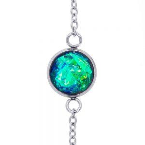 brățară metalică inox oțel chirurgical verde smarald, verde jad, reflexii aurii, bijuterii handmade unicat din rășină, brățară cu piatră cristale turcoaz apă