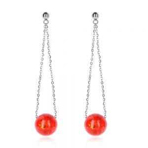 cercei lungi cu lănțișor și biluțe, din oțel chirurgical, cercei inox lungi handmade unicat, cercei roșii eleganți lungi.