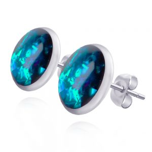 cercei mici rotunzi pe ureche cu șurub din oțel chirurgical, cercei inox handmade unicat