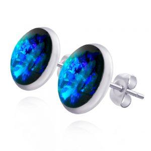 cercei mici rotunzi pe ureche cu șurub din oțel chirurgical, cercei inox handmade unicat de culoare albastru electric, albastru marin, albastru turcoaz cu reflexii