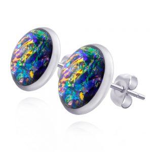 cercei mici roz pe ureche cu șurub cu reflexii arămii și turcoaz, din oțel chirurgical, bijuterii din rășină handmade