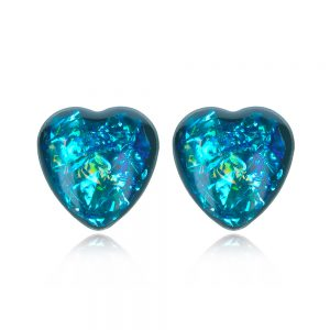 cercei inimioară albastră din rășină, cercei inox handmade unicat