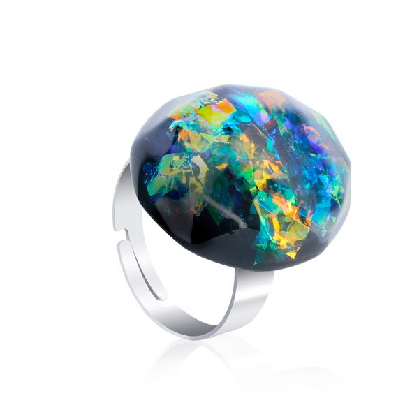 inel reglabil verde piatră ovală, inel din inox oțel chirurgical, inel reglabil verde smarald, verde jad, bijuterii din rășină handmade unicat