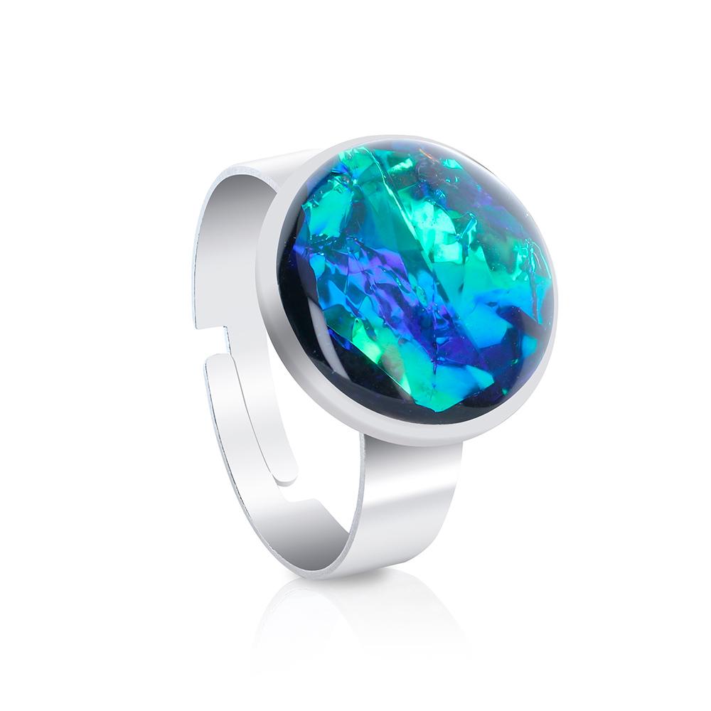 inel reglabil inox oțel chirurgical, în culori de albastru marin, albastru turcoaz, bijuterii handmade unicat din rășină epoxidică, inel metalic tip verigheta, verde smarald, verde jad