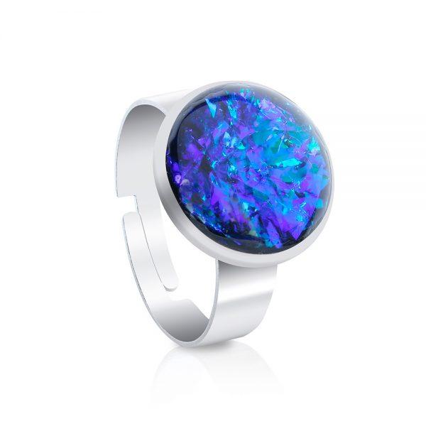 inel inox oțel chirurgical metalic tip verighetă albastru electric, albastru regal, albastru intens cu reflexii, inel handmade unicat din rășină epoxidică