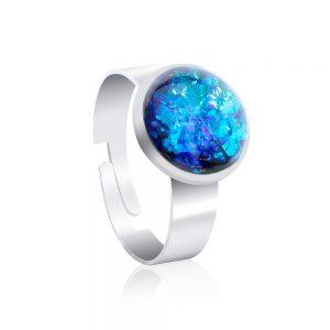 inel reglabil inox oțel chirurgical metalic tip verighetă, albastru turcoaz, albastru marin, turcoaz deschis, turcoaz natural, inel handmade unicat din rășină epoxidică