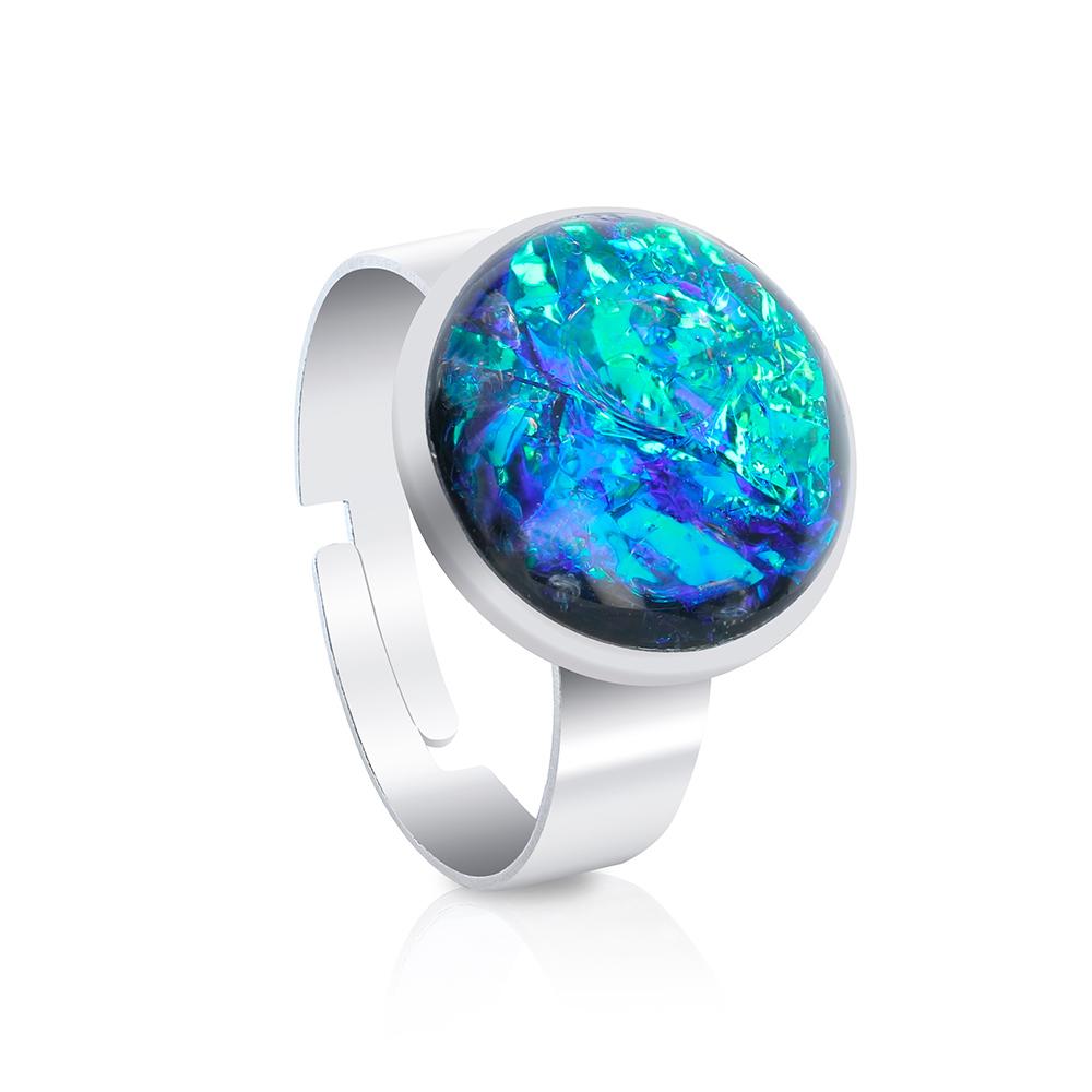 inel reglabil inox oțel chirurgical metalic rotund tip verighetă, inel handmade unicat cu piatră rotundă verde smarald și verde jad cu reflexii colorate aurii și turcoaz, bijuterie cluj