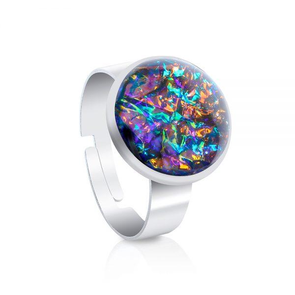 inel reglabil rotund tip verighetă din inox oțel chirurgical și rășină epoxidică, în culori roz antic, reflexii arămii, reflexii aurii, inel handmade unicat turcoaz