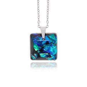 lanț cu pandantiv albastru turcoaz, bijuterii pentru rochie albastră, cu oțel chirurgical, pandantiv din rășină