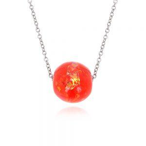 pandantiv pandora glob rotund, culoare granat, roșu de rubin, chilli peppers, bijuterii pentru rochie roșie, pandantiv din rășină cu lănțișor din inox oțel chirurgical