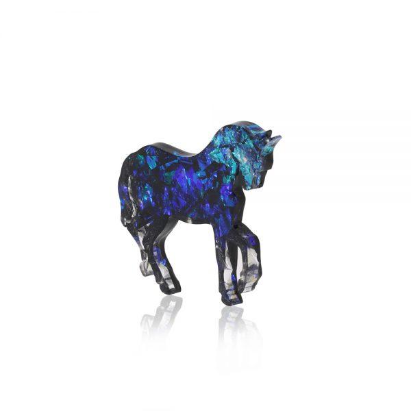 Bijuterie Broșă Unicorn Albastru Turcoaz cu Reflexii Strălucitoare