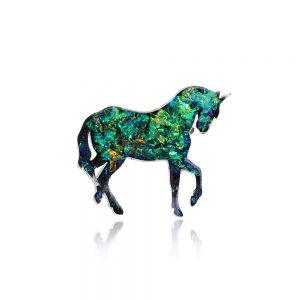 Broșă ac de siguranță, bijuterie unicorn, verde smarald, reflexii arămii, arămiu cald, insignă verde, unicorn simbol