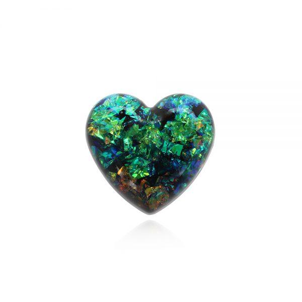 Broșă inimă verde, broșă ac de siguranță, bijuterii broșă elegantă, verde smarald, inimă piatră verde, bijuterie piatră verde femei