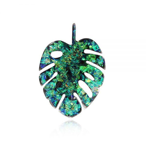 Bijuterii frunză, Broșă frunză verde, Frunză de Monstera, Broșă Insignă Verde Elegantă în formă de frunză mare lată de culoare verde jad verde smarald cu reflexii aurii arămii