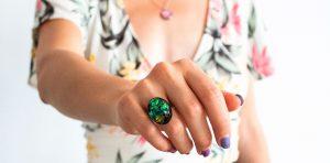 inel handmade unicat, bijuterii din rasina